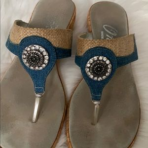 Women's Onex comfortable Blue Jean Jeweled sandals